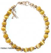 Prepackaged (7 3/4 in.) Cancer Awareness Bracelet GOLDEN, 6mm