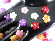 40Pcs Assorted DAISY Resin Flower Loose Flatback - 12mm - with crystals. Rhinestone beads - wholesale Lot supplies scrapbook jewellery crafts - embellishing Scrapbook Card weddings work hair clips headbands hats