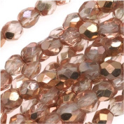 50pcs Czech Fire-Polished Faceted Glass Beads Round 6mm Appolo Gold