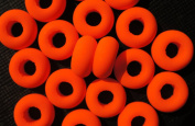 10 pcs Czech Glass Beads ESTRELA NEON (UV Active) Bagel 14x7 mm Orange