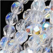 50pcs Czech Fire-Polished Faceted Glass Beads Round 6mm Crystal AB