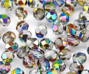 50pcs Czech Fire-Polished Faceted Glass Beads Round 6mm Crystal Vitrail