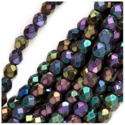 100 pcs Czech Fire-Polished Faceted Glass Beads Round 4mm Iris Rainbow