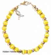 Prepackaged (7 3/4 in.) Cancer Awareness Bracelet YELLOW, 6mm