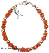Prepackaged (7 3/4 in.) Cancer Awareness Bracelet ORANGE, 6mm