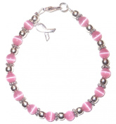 Prepackaged (7 3/4 in.) BREAST Cancer Awareness Bracelet, 6mm