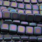 Czechmate 6mm Square Glass Czech Two Hole Tile Bead - Matte Iris Purple