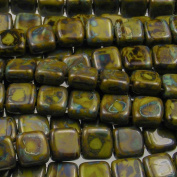 Czechmate 6mm Square Glass Czech Two Hole Tile Bead - Opaque Olive Picasso