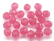 25pcs Czech Fire-Polished Faceted Glass Beads Round 8mm Pink Opal