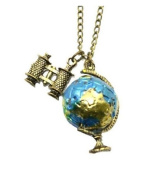 Buypretty Retro Pendant Globe Telescope Style Chain Charm Ornate Coat Sweater Vintage Necklace