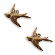Vintaj Natural Brass Sparrow Bird Charms 17mm