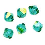 Preciosa Czech Crystal Bicones Glass Beads 4mm 'Blue Zircon AB'