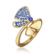 DUMAN 18K Yellow Gold Plated Blue Butterfly Ring. Elements Crystal, Size 8