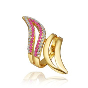 DUMAN 18K Yellow Gold Plated White Rose Double Lines Rhinestones Wings Ring. Elements Crystal, Size 8