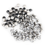 50 Crystal 8mm Round Studs Spots Punk Nailheads Spikes for Bag Shoes Bracelet