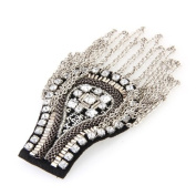 Metal Rhinestone Cloth Chain Brooch Epaulette Shoulder Board Mark Punk