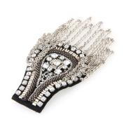 Metal Rhinestone Cloth Chain Brooch Epaulette Shoulder Board Mark Punk