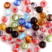 50 X Multicolor Round Ball Lampwork Glass Beads 12mm HOT