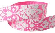 Hip Girl Boutique 5yd 2.2cm Damask Grosgrain Ribbon--Hot Pink/White