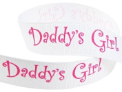 Hip Girl Boutique 5yd 2.2cm Father's Day Daddy's Girl Grosgrain Ribbon--White