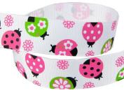 Hip Girl Boutique 5yd 2.2cm Spring Fling Ladybug Grosgrain Ribbon--White