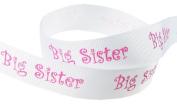 Hip Girl Boutique 5yd 2.2cm Big Sister Ribbon-Grosgrain --White/Hot Pink