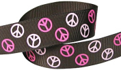 Hip Girl Boutique 5yd 2.2cm Peace Sign Ribbon-Grosgrain-Brown/P. Pink+Hot Pink