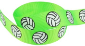 HipGirl Brand Printed Grosgrain Ribbon, 5 -Yard 2.2cm Volleyball Up Close, Lime Green