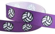 HipGirl Brand Printed Grosgrain Ribbon, 5 -Yard 2.2cm Volleyball Up Close, Purple