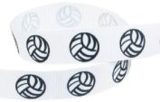 HipGirl Brand Printed Grosgrain Volleyball Up Close Ribbon, 5 -Yard 2.2cm , White