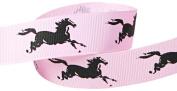 Hip Girl Boutique 5yd 2.2cm Horse Grosgrain Ribbon--Pearl Pink/Black