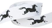 Hip Girl Boutique 5yd 2.2cm Horse Grosgrain Ribbon--White/Black