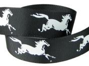Hip Girl Boutique 5yd 2.2cm Horse Grosgrain Ribbon--Black/White