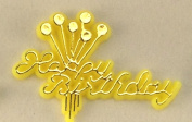 48 Plastic Cake Topper Happy Birthday Sign Yellow w/Gold Party Favour Decoration