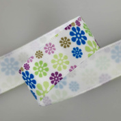 Neotrims Daisy Floral Snowflake Printed Satin Ribbon Online By the Yard 16, 25mm. Snowflakes Flower Ruban; A Floral Design, Best Quality Satin Ribbon, Beautifully Soft and Lustrous Polyester Ribbon. 16mm and 25mm Widths, sold as a 6 mts Value pack of m ..