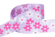 Hip Girl Boutique 5yd 2.2cm Flower Printed Grosgrain Ribbon--Orchid
