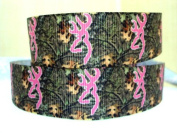 Mossy Oak Camouflage with Pink Browning Logo 5 Yards Printed Grosgrain Hairbow Ribbon