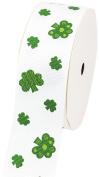 LUV Ribbons Creative Ideas Grosgrain St. Patrick's Day Print Ribbon, 3.8cm , White