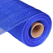 25cm x 30 feet Deco Poly Mesh Ribbon - Royal Blue with Blue Foil