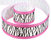 5yd 3.8cm Swiss Dot Zebra Grosgrain Ribbon