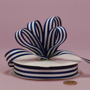 Navy Jenna Striped Grosgrain Ribbon, 1.6cm X 25Yd