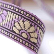 Lavender Purple & Cerise Pink Gold Indian Ribbon Mix, 2 Style Combo By The Metre. Beautiful 2cm wide ribbon; Beautiful Floral Sari Border designs, Traditional Floral Jacquard sari Indian ribbon border; Great For Crafts and Hobbies; 2 Beautiful Colour o ..