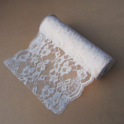 23cm Crochet Lace Ribbon Floral Trim 10 Yard Roll - Ivory