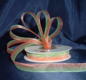 Organza Rainbow Ribbon -1cm - Lime Green/Orange - 25 Yards