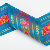 Neotrims Wide India Paisley Peacock Sari Salwar Kameez Craft Ribbon Material 9cm. Peacock Design Indian Ribbon, 9cms. Colourful and vibrant a traditional Sari ribbon Border with floral & Peacock brocade jacquard pattern. 3 Stunning colours to choose fr ..
