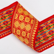 Neotrims Traditional Sari Salwar Kameez Ribbon Trimmings by The Yard 75mm Wide. Beautiful 7.5cm wide ribbon; Beautiful Assam Province Sari Border designs, Traditional Floral Jacquard sari Indian ribbon border; Great For Crafts and Hobbies; 2 Beautiful ..