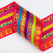 Neotrims Sari Salwar Wholesale Ribbon, Paisley Stripes Design by the Yard 9cm. Beautiful 9cm wide ribbon; Beautiful Paisley India Jacquard designs, Traditional Paisley Jacquard sari Indian ribbon border; Great For Crafts and Hobbies; 2 Beautiful Colour ..