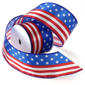 Morex Ribbon Stars and Stripes Wired Satin Ribbon Spool, 6.4cm by 3-Yard, Red/White/Blue