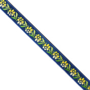 "5 yards 7/16"" WIDE 12mm Flowers Jacquard Ribbon JR282"