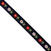 "5 yards 1/2"" WIDE 13mm Flowers Jacquard Ribbon JR262"